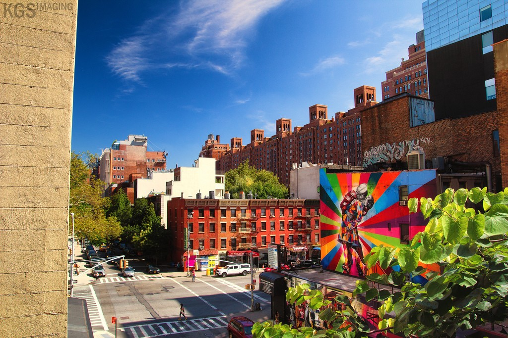 Picture taken from the High Line, a beautiful urban park in the middle of the Chelsea neighborhood.